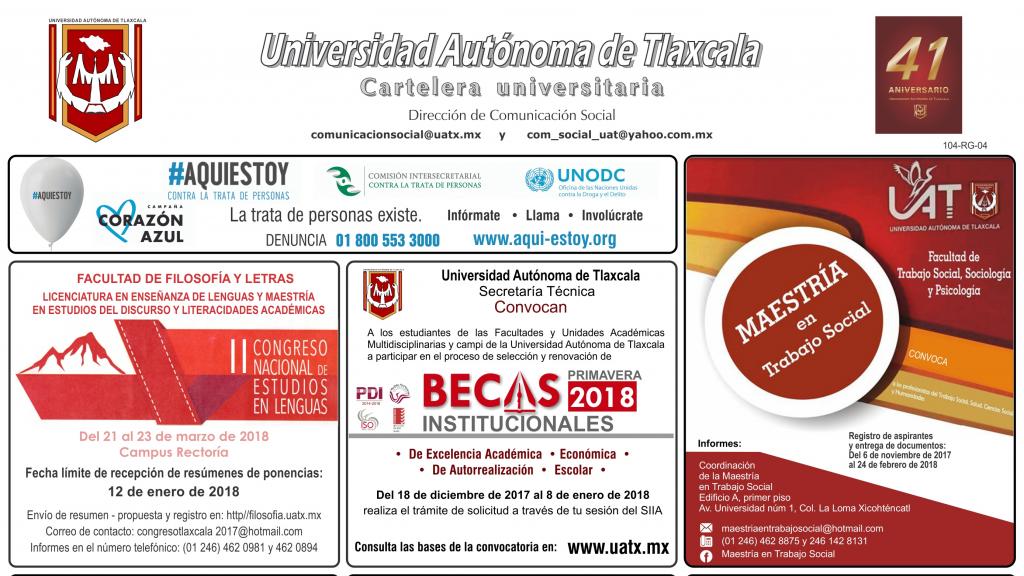Cartelera de la Universidad Autónoma de Tlaxcala